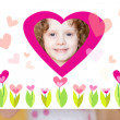 Stockfoto: Little girl holding valentine postcard.