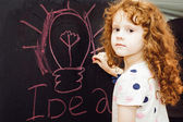 Girl writes in chalk on a blackboard. Education concept. — Stock Photo