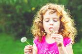タンポポ、水平ショットを吹いて少し美しい巻き毛の少女 — ストック写真
