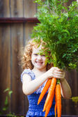 Happy little girl with bunch of carrots. — Stock Photo