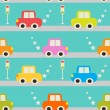 Seamless pattern with cartoon cars. — Stock Vector #51705403