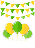 Greeting card with a green and yellow balloons and flags. Vector — Stock Vector