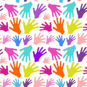 Seamless background multicolored hands with smiles isolated in w — ストックベクタ