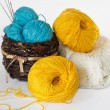 Hanks of blue, yellow, white yarn in a ped. — Stock Photo #21124037