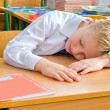 A schoolboy fell a sleep on a lesson. — Stock Photo