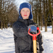 Stock Photo: Boy with shovel after snow fall.
