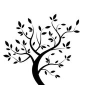 Vector black tree — Stock Vector