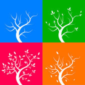 Four season trees, vector illustration — Stock Vector