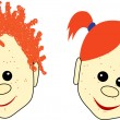 Red-haired boy and girl faces with smiles — Векторная иллюстрация