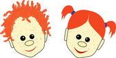 Red-haired boy and girl faces with smiles — Stock Vector
