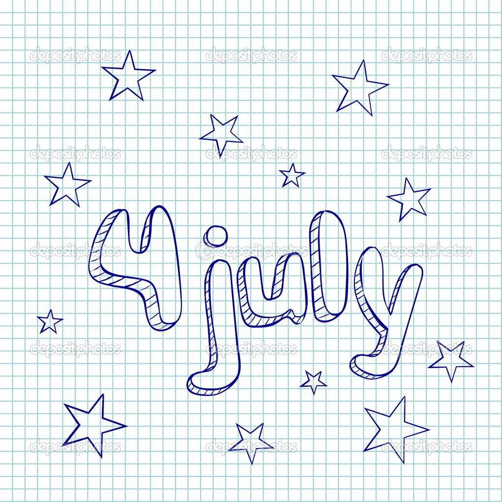 矢量图手绘贺卡 7 月 4