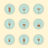 Vector alcohol icons — Stock Vector