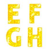 Diament litery e, f, g, h — Wektor stockowy