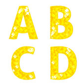 Diamond letters A, B, C, D — Stock Vector
