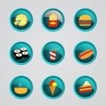 conjunto de iconos de comida rápida — Vector de stock