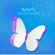 Stock Vector: Paper butterfly card