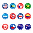 Stock Vector: Set of Round Flags