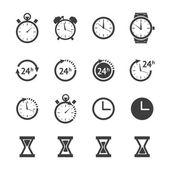 Black clock icons set — Stock Vector