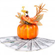 Stock Photo: Pumpkin decoration with leaf and flower isolated on white