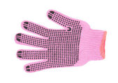 Pink working gloves with rubber dots isolated on white background — Stock Photo