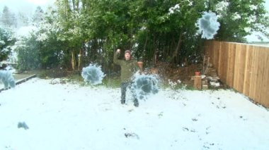 Throwing Snowballs — Stock Video