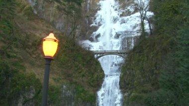 Multnomah Falls in Oregon during winter — Stock Video