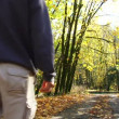 Man walks down dirt road full of fallen leaves in Oregon forest. — Stock Video #14773177