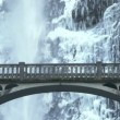 Multnomah Falls with bridge scenic in Oregon during winter — Stock Video