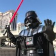 Darth Vader with sword against Las Vegas — Stock Video #14928583