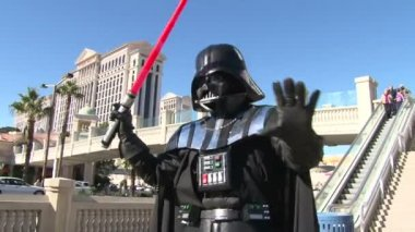 Darth Vader with a sword against Las Vegas — Stock Video