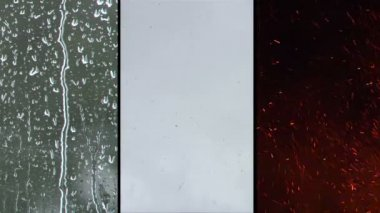 3 Up clip of the elements fire, rain and snow. — Stok video