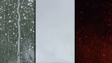 3 Up clip of the elements fire, rain and snow. — Video Stock