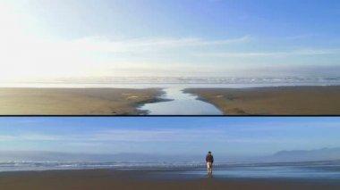 Clip en couches avec 2 plans d'homme marchant vers l'océan pacifique en oregon sur voyage solitaire. — Vidéo