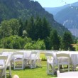 Tables for a wedding in the mountains — Stock Video #15387777