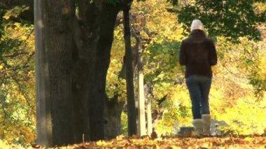 Woman walks down path full of fallen leaves in Portland Oregon park. — Stock Video
