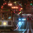 Cable car trolley travels down union square — Stock Video