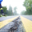 DULUTH, MINNESOTA - CIRCA MAY 2010: Inline roller skate marathon with athletes racing on street and motorcycle driving by with sound. — Stock Video