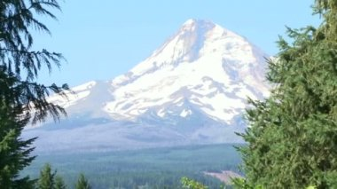 Zoom out from Mt Hood in Oregon to wedding altar location setting. — Stock Video