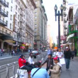 SAN FRANCISCO - CIRCA DECEMBER 2011: Busy intersection with walking and driving in San Francisco, California.. — Stock Video