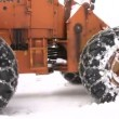 Large tractor snow plowing roads after blizzard snow storm in Oregon, USA — Vídeo Stock