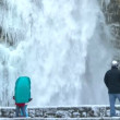 Near the winter waterfall - Stock Photo