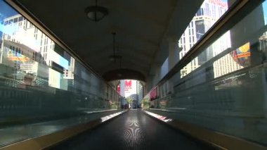 Train rides in the tunnel in city — Wideo stockowe