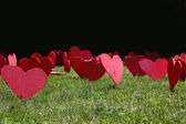 Red hearts on the green grass — Stock Photo