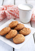 Peanut butter cookies with milk — Stock Photo