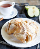 A turnover on a decorative plate — Stock Photo