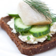Canape with herring, cream cheese and cucumber — Stock Photo