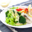 Steamed fish and broccoli - Stock Photo