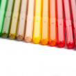 Row of colored felt tip pens — Stock Photo