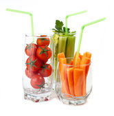 Glasses with fresh vegetables — Stock Photo