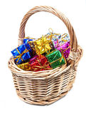 Basket with small gifts — Stock Photo